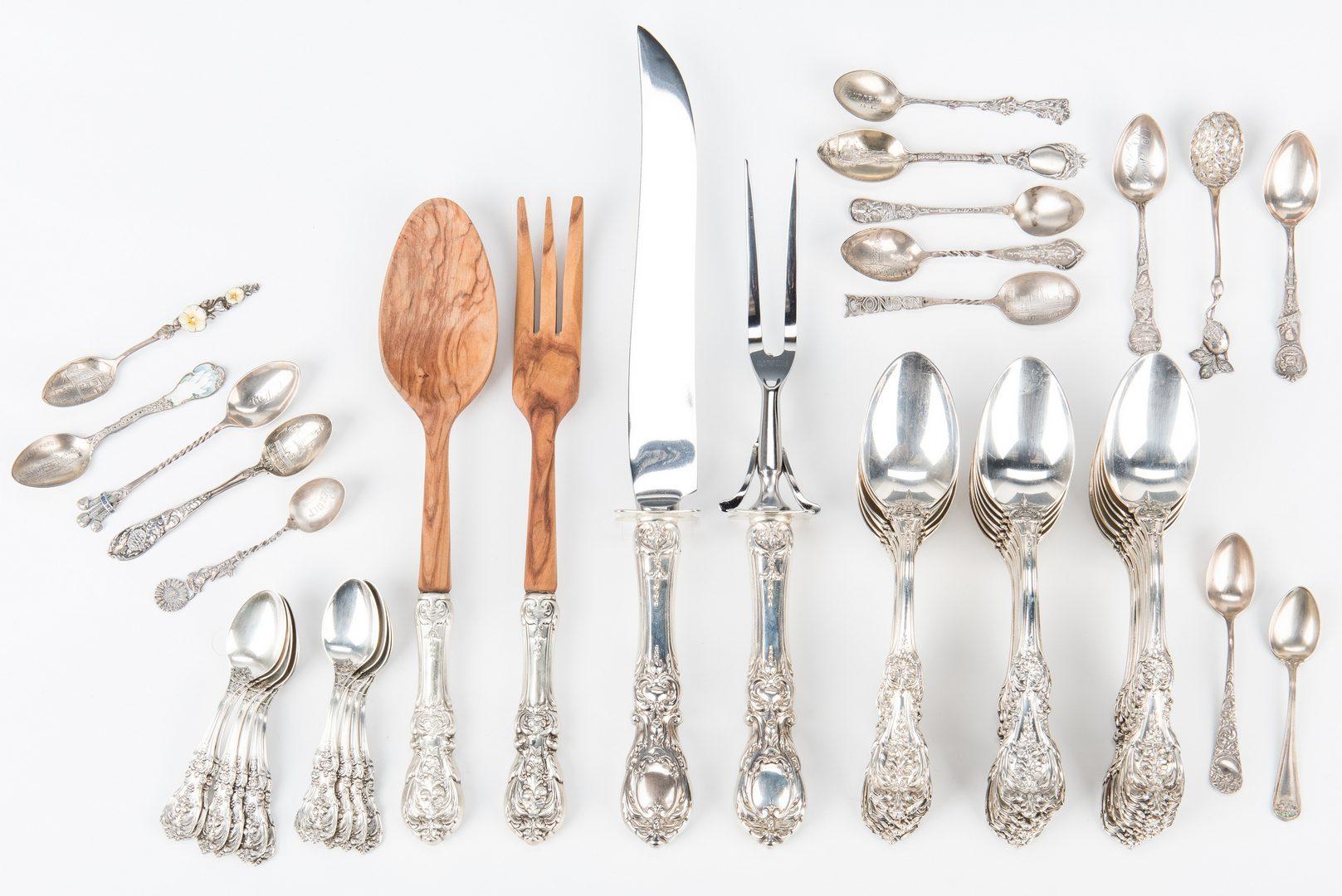 Lot 453: Reed & Barton Francis I Sterling Flatware plus souvenir spoons