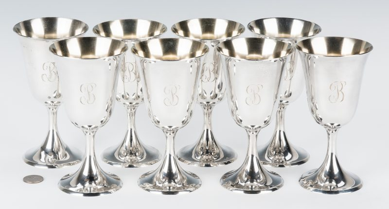 Lot 455: 8 Steiff Sterling Silver Water Goblets