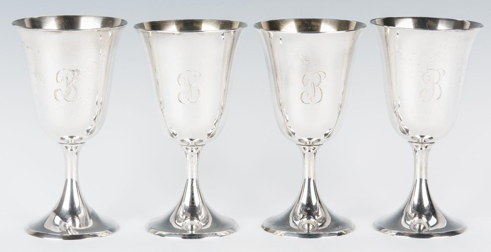 Lot 455: 8 Steiff Sterling Silver Water Goblets
