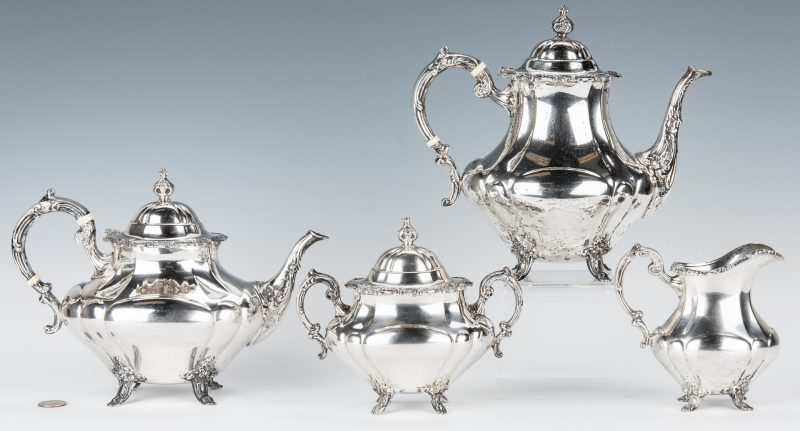 Lot 459: Reed & Barton Sterling Georgian Rose Tea Set