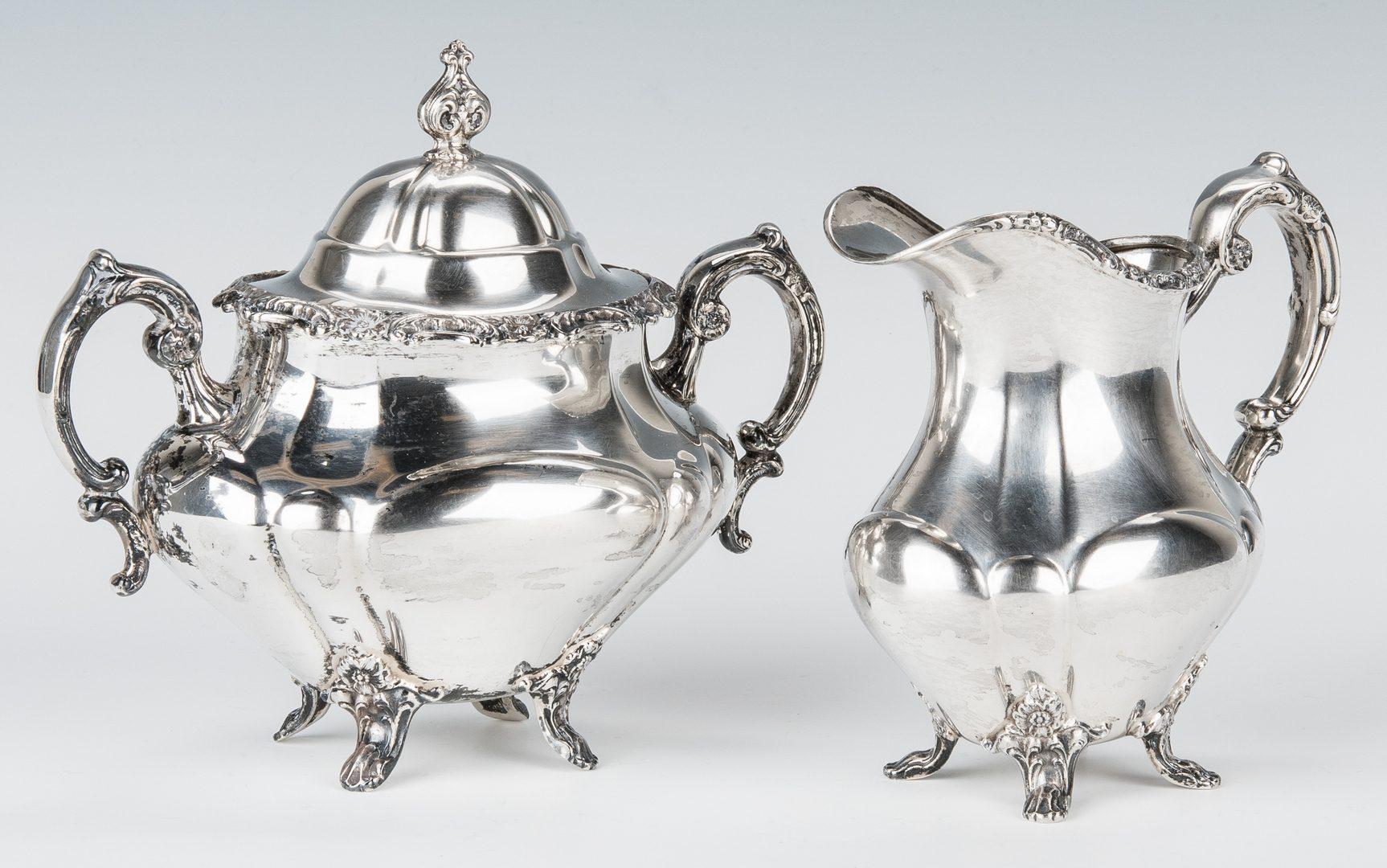 Lot 459: Reed & Barton Sterling Georgian Rose Tea Set