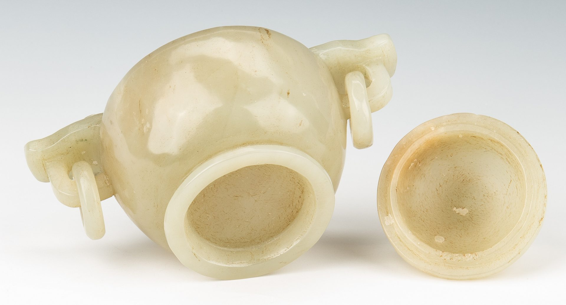 Lot 466: Chinese Celadon Jade Jar w/ Dragon Handles