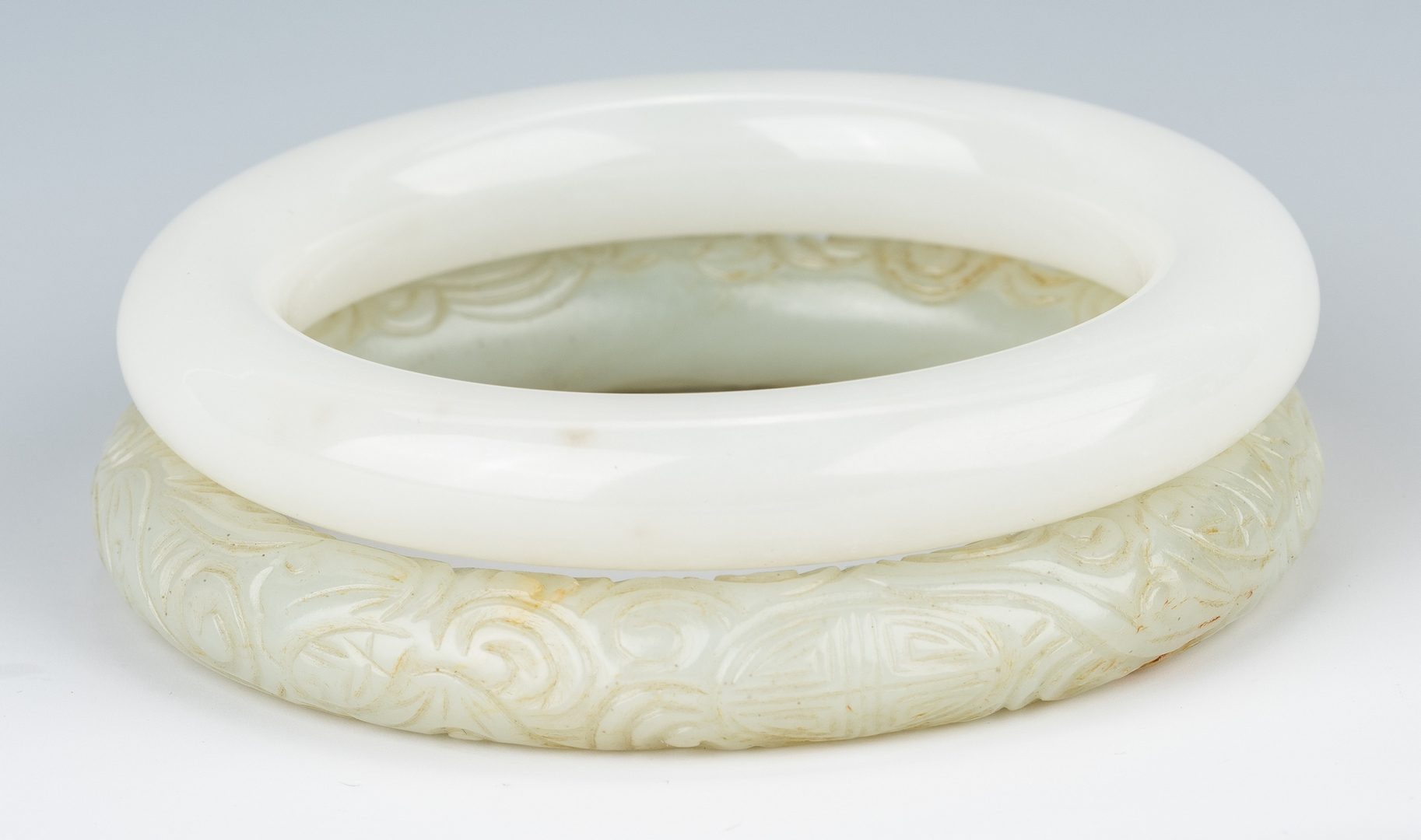 Lot 468: 2 Chinese Jade Bangles & 4 Jade Archer's Rings, 6 items