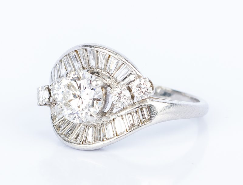 Lot 46: Art Deco Platinum Diamond Dinner Ring, circa 1940