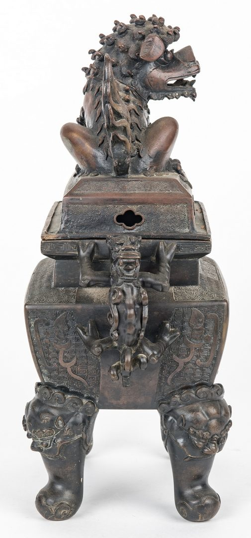 Lot 470: Large Chinese Bronze Foo Dog Censer