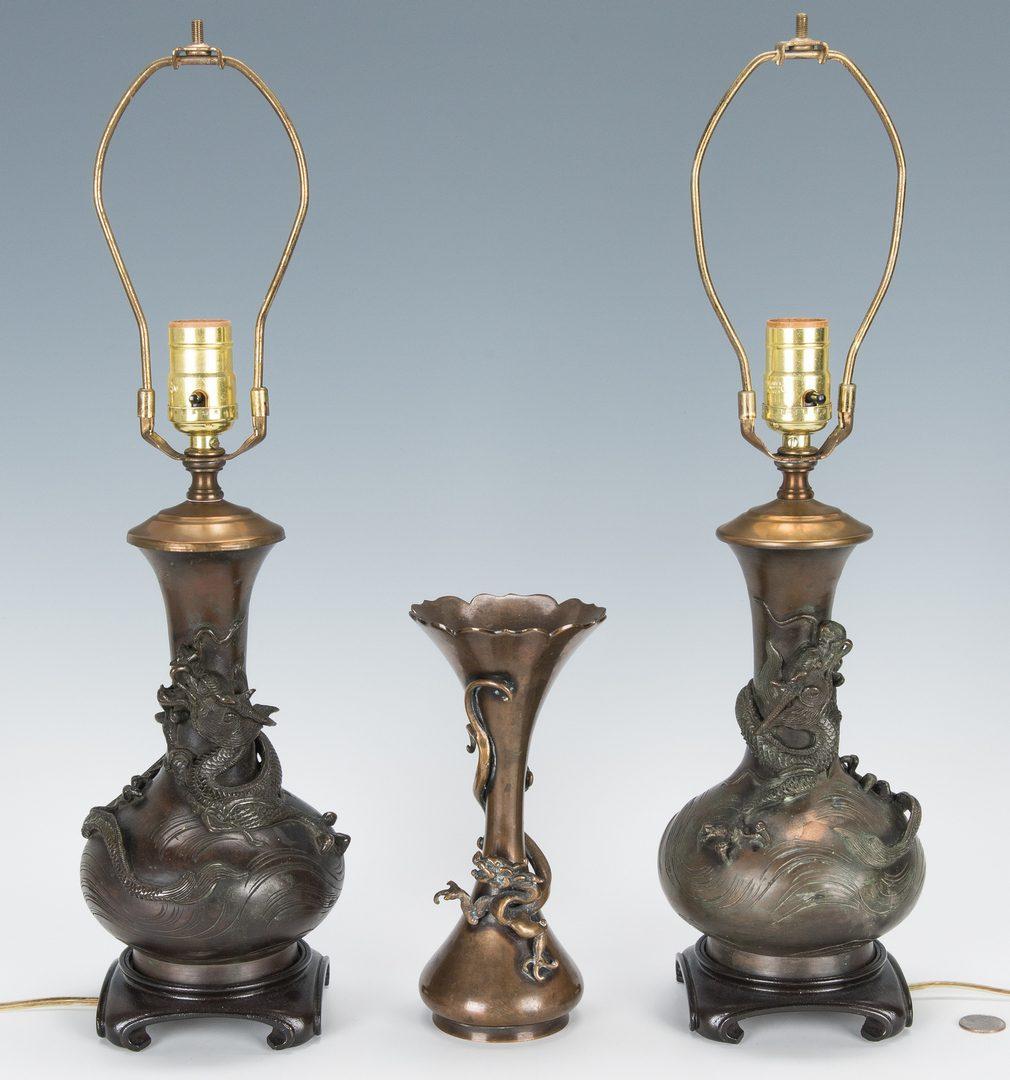 Lot 471: 3 Japanese Bronze Vases