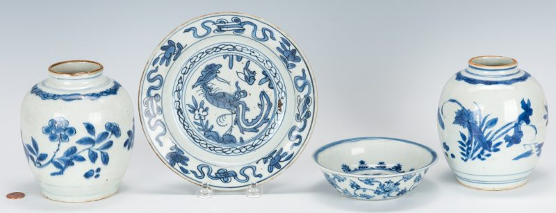 Lot 474: 4 Pcs. Chinese Blue & White Export  Porcelain