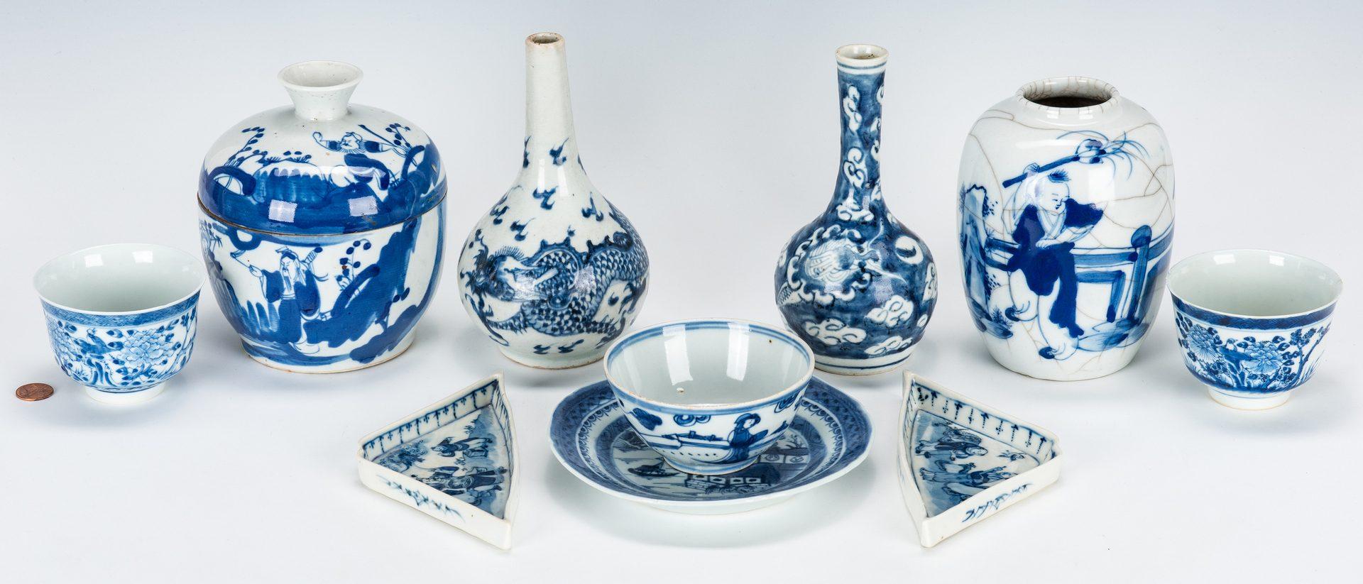 Lot 475: 10 Pcs. Chinese Export Blue & White Porcelain
