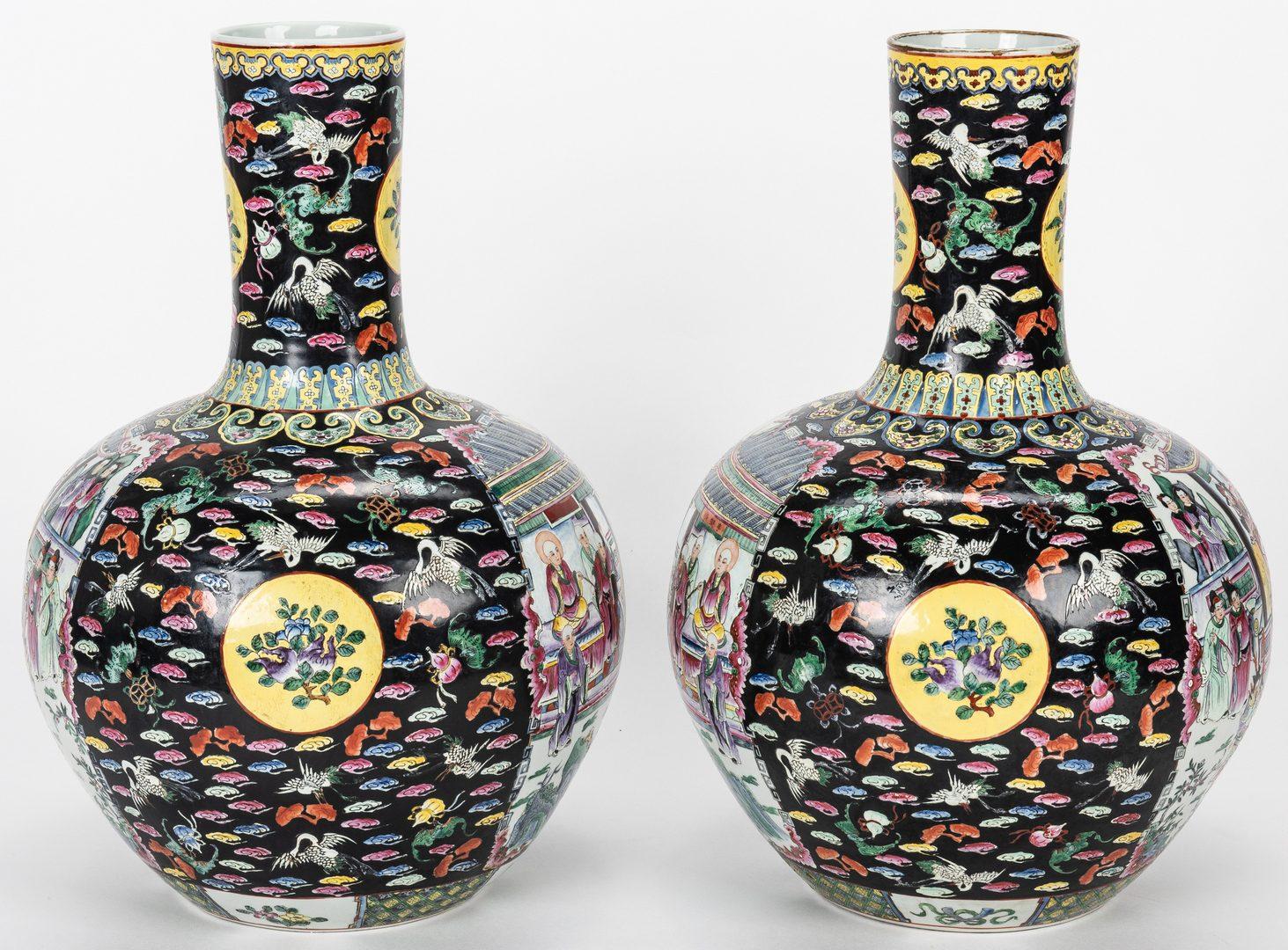 Lot 478: Pr. Chinese Famille Noire Floor Vases