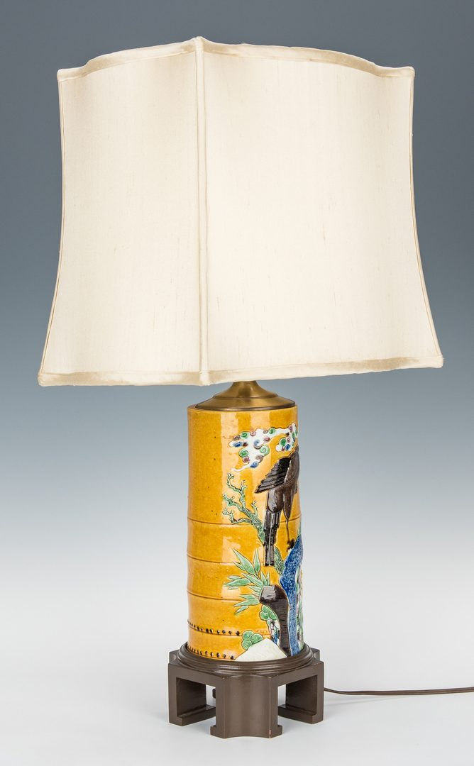 Lot 479: 6 pcs. Chinese Export Porcelain & 1 Hat Stand Lamp, 7 items