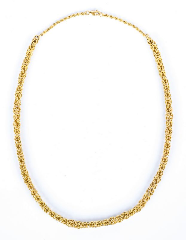 Lot 47: 14K Byzantine Link Necklace, 65.9 grams