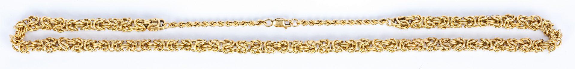 Lot 47: 14K Byzantine Link Necklace, 65.9 grams
