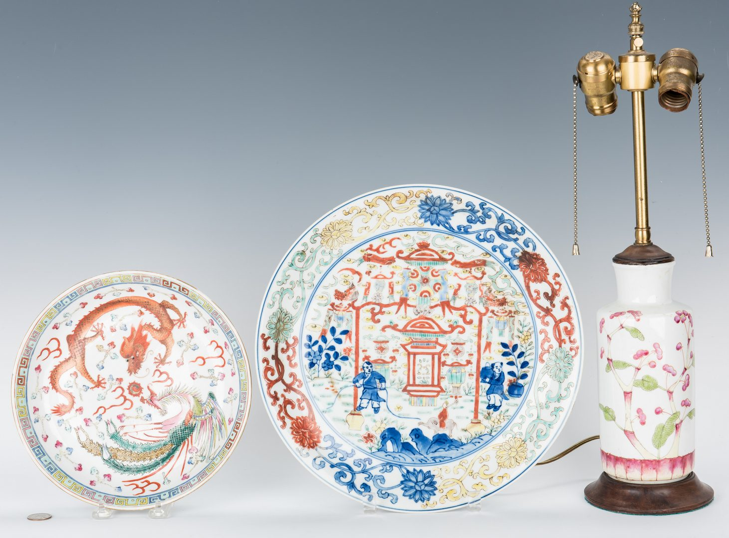 Lot 481: Chinese Famille Rose Dish, Lamp and Famille Verte Charger