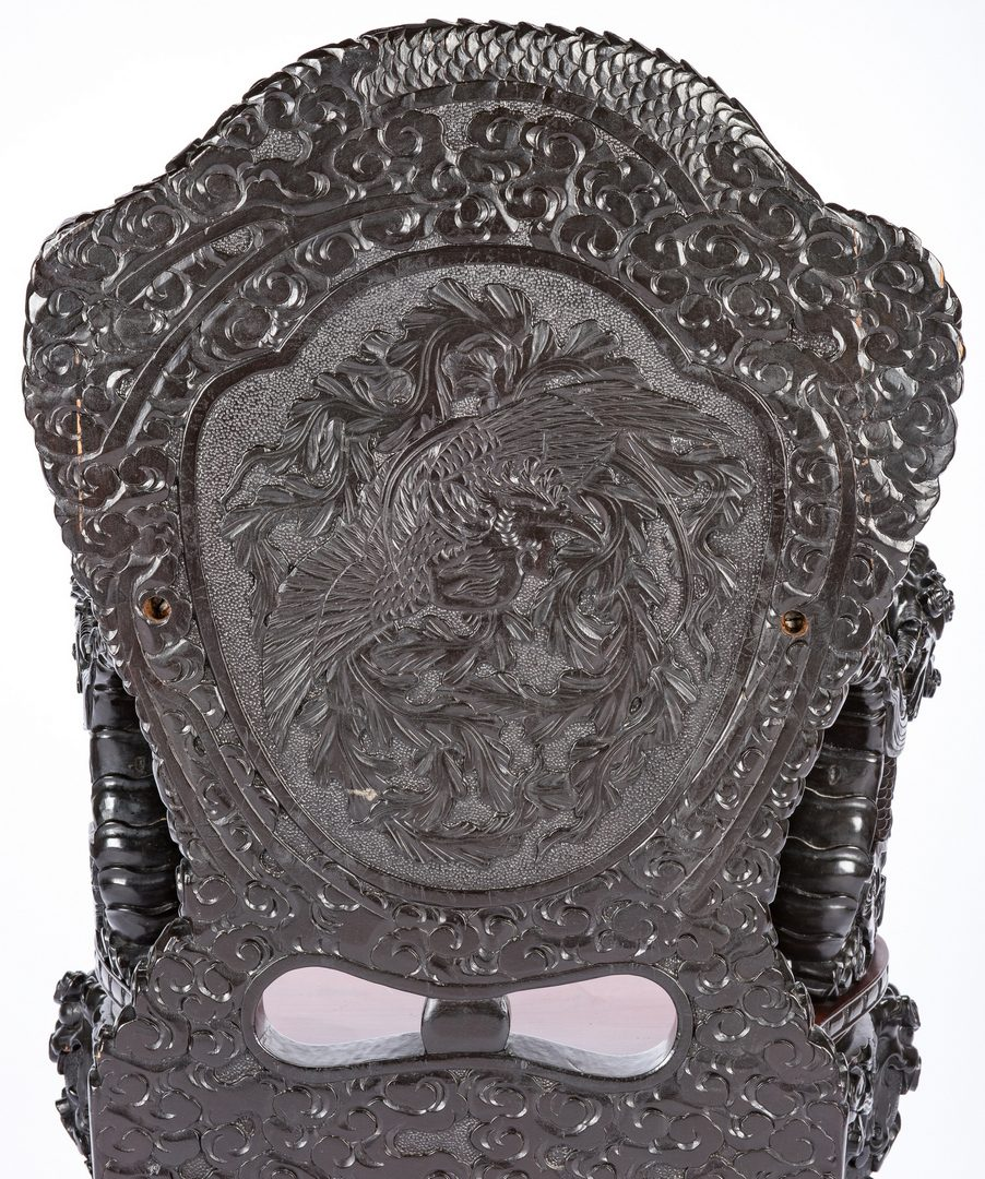 Lot 489: Chinese Carved Dragon Arm Chair & Low Table, 2 items