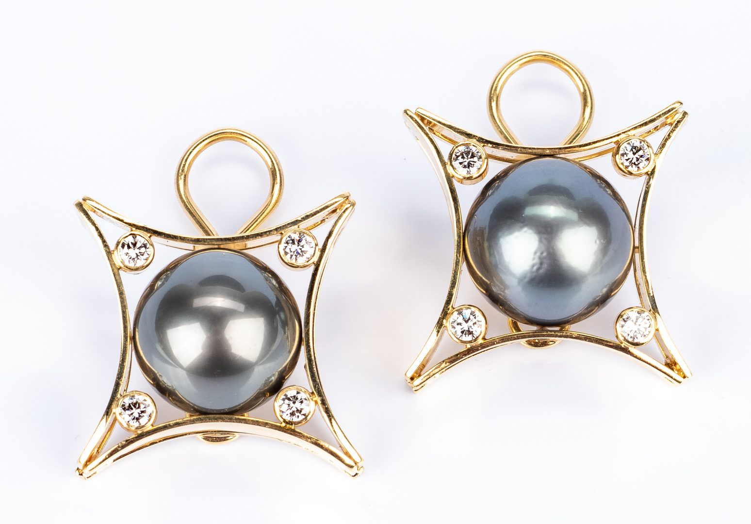 Lot 48: 18K Tahitian Pearl & Diamond Earrings