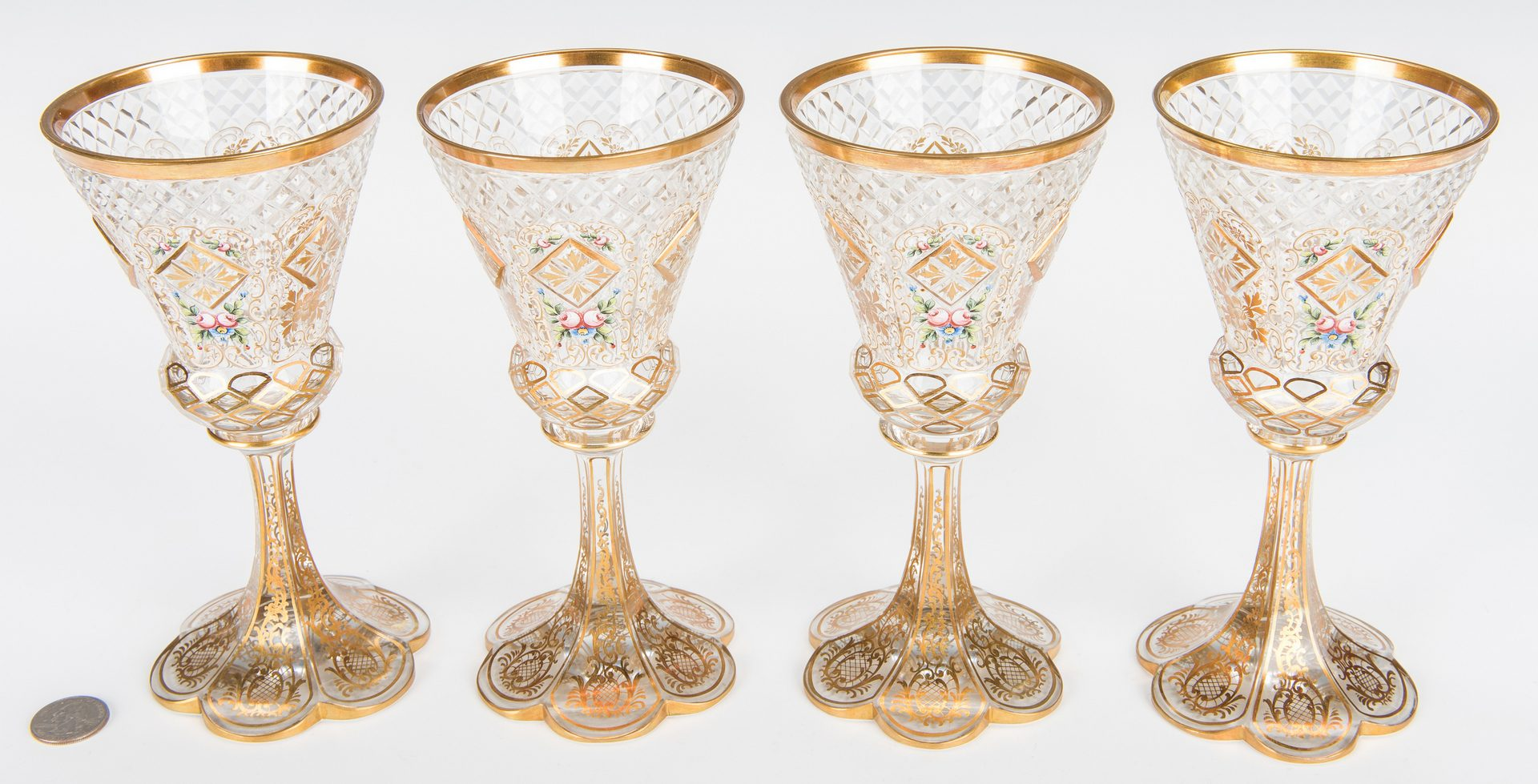 Lot 492: 4 Cut and Enameled Glass Goblets, poss. Moser