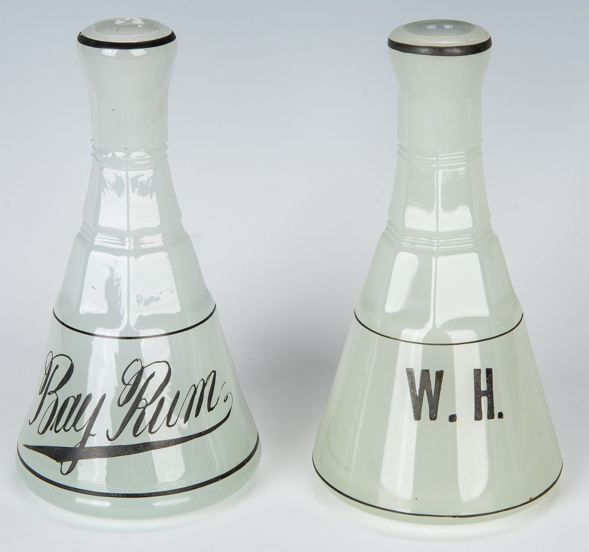Lot 494: 6 Milk Glass & 2 Moonstone Clambroth Barber Bottles, 8 total