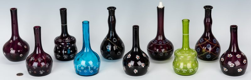 Lot 495: 10 Enameled Glass Barber Bottles