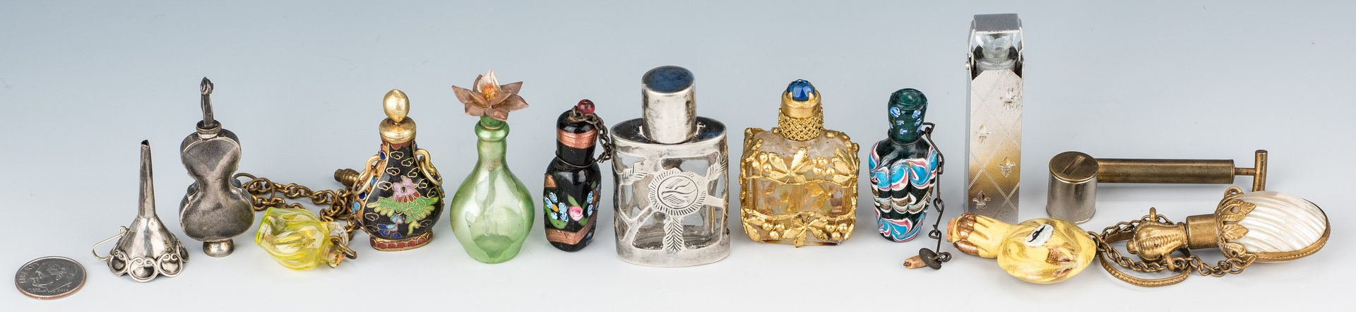 Lot 498: 13 Miniature Perfume Bottles, incl. Sterling Silver