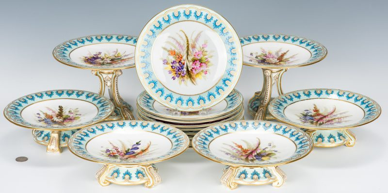 Lot 501: Royal Worcester Botanical Dessert Service, 16 pcs.