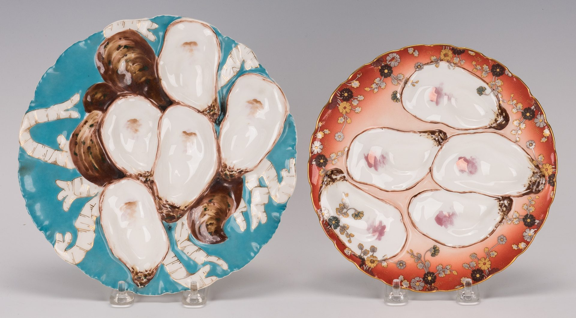 Lot 502: 10 Assorted Oyster Plates, late 19-early 20th c.