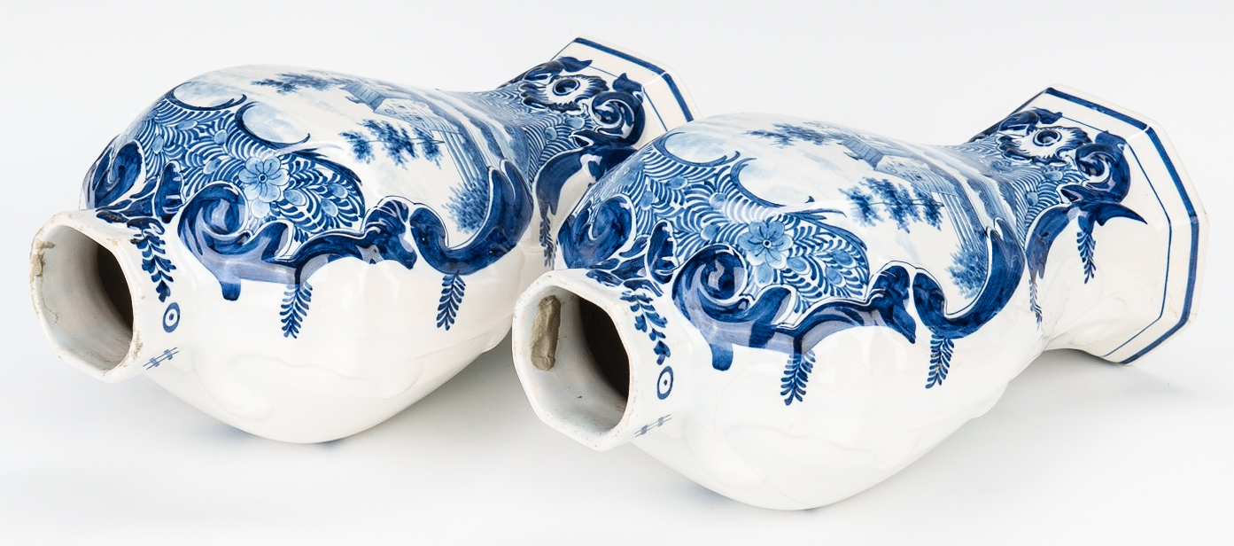 Lot 503: Pair of Signed Delft Lidded Urns