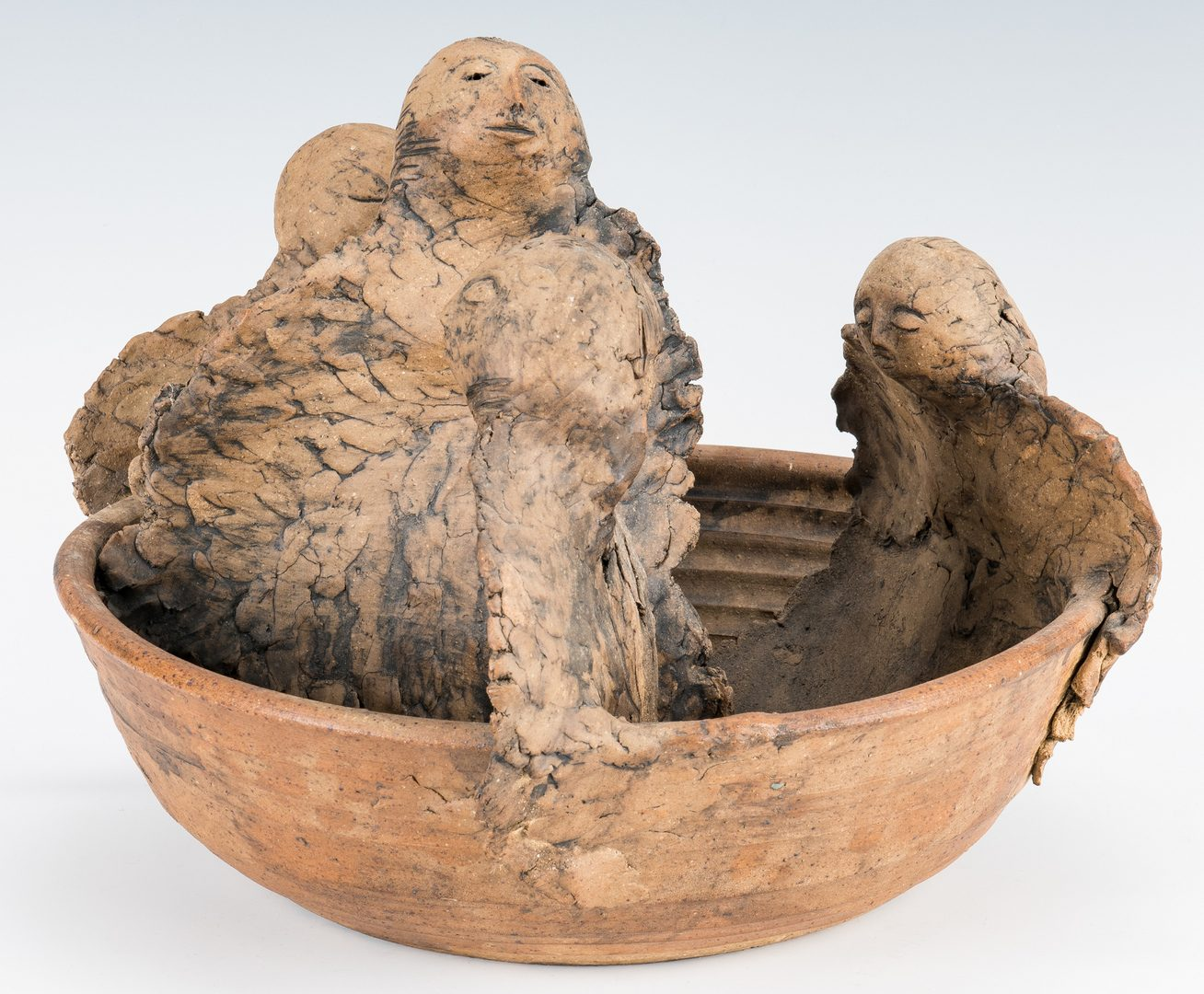 Lot 509: Olen Bryant, Ceramic Bowl with Angels
