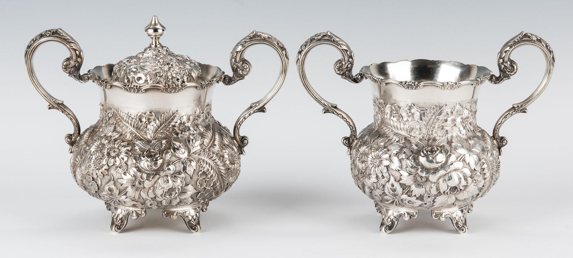 Lot 50: A.G. Schultz & Co. Sterling Floral Repousse Tea Set, 4 pcs.