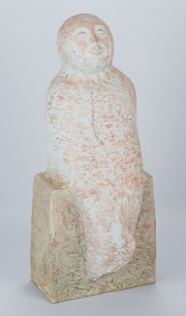 "Lot 510: Olen Bryant Clay Sculpture, ""Blue Lady"""