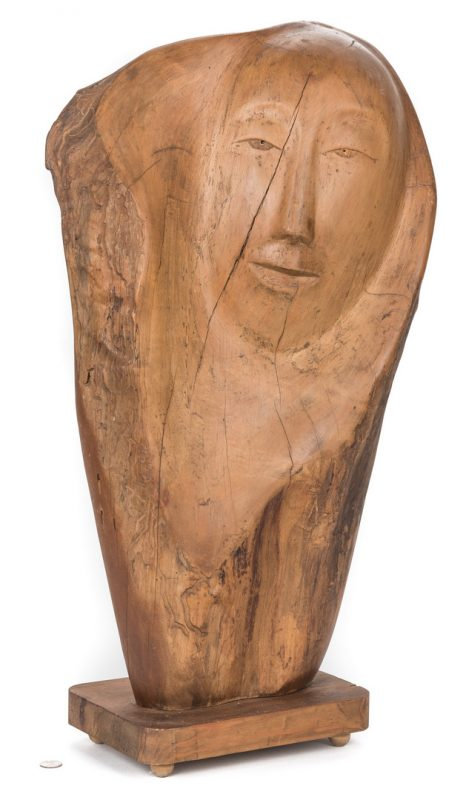Lot 512: Olen Bryant Carved Wood Face Sculpture