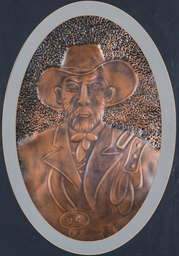 Lot 514: 2 Greg Ridley Copper Plaques of Genls. Lee and Grant plus sketches