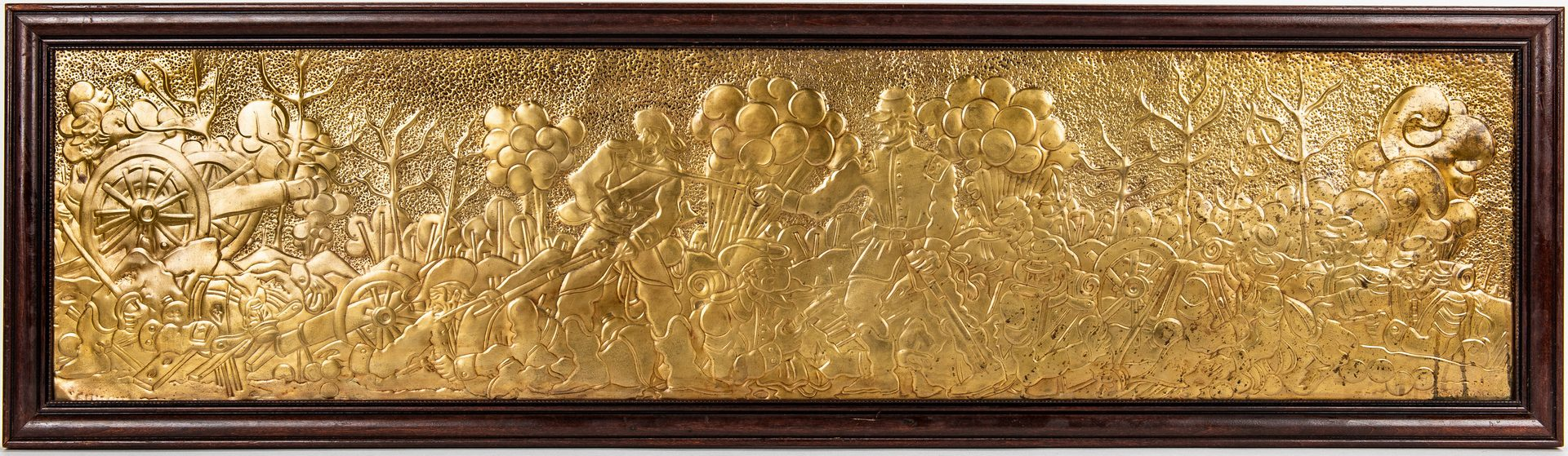 Lot 515: Greg Ridley Gilt Copper Panel, Shiloh Battle