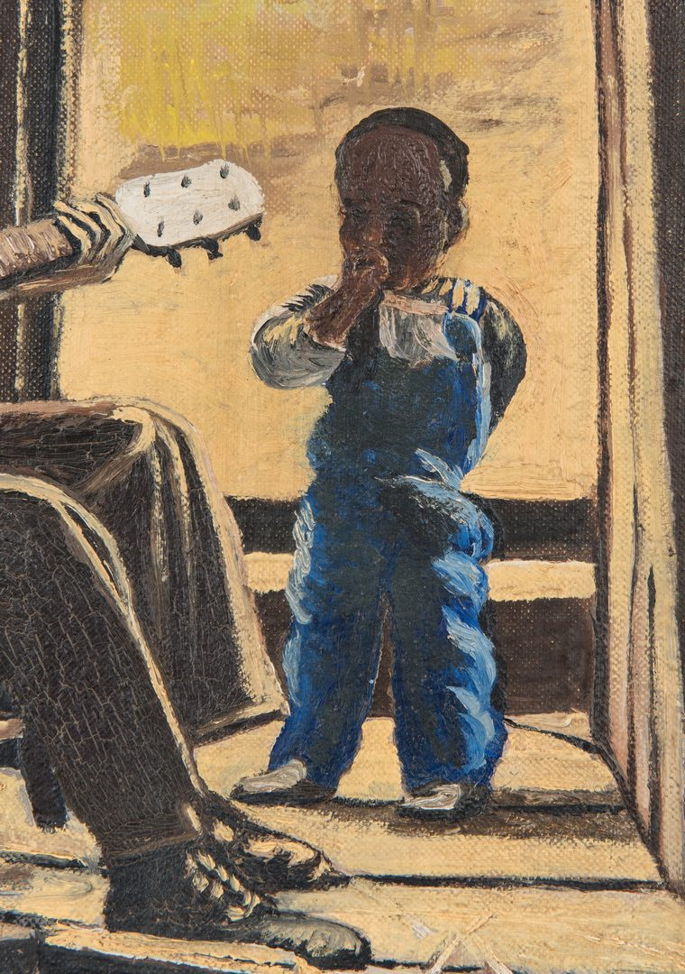 Lot 517: Joseph Delaney O/B Genre Scene, Man with Child