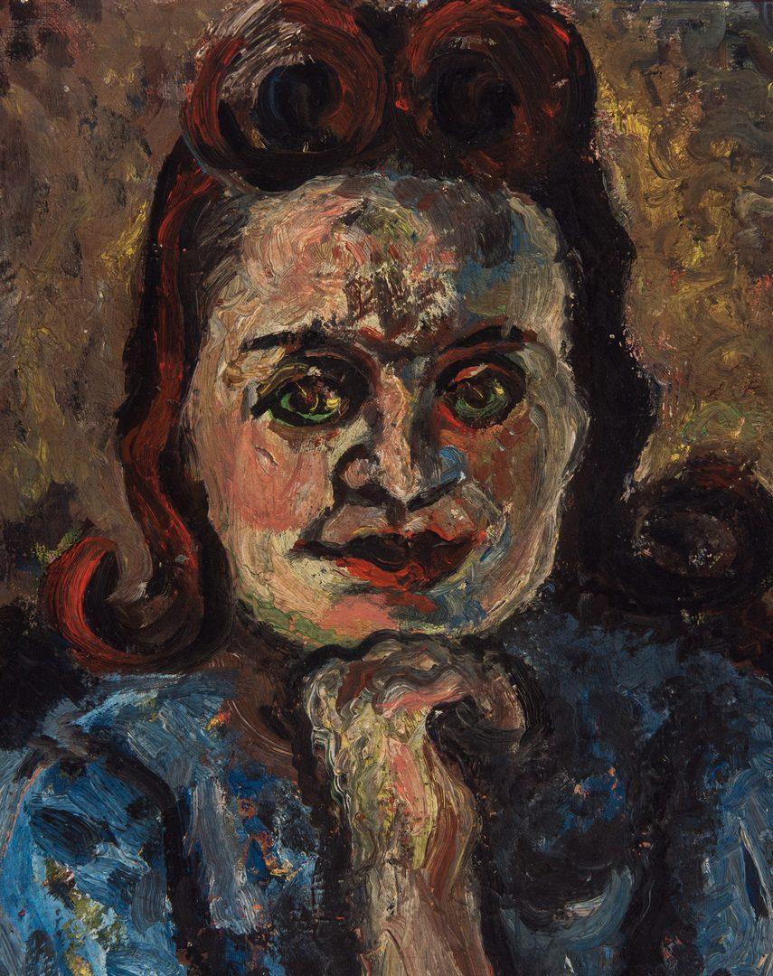 Lot 518: O/B Portrait of Woman, attrib. to Jos. Delaney