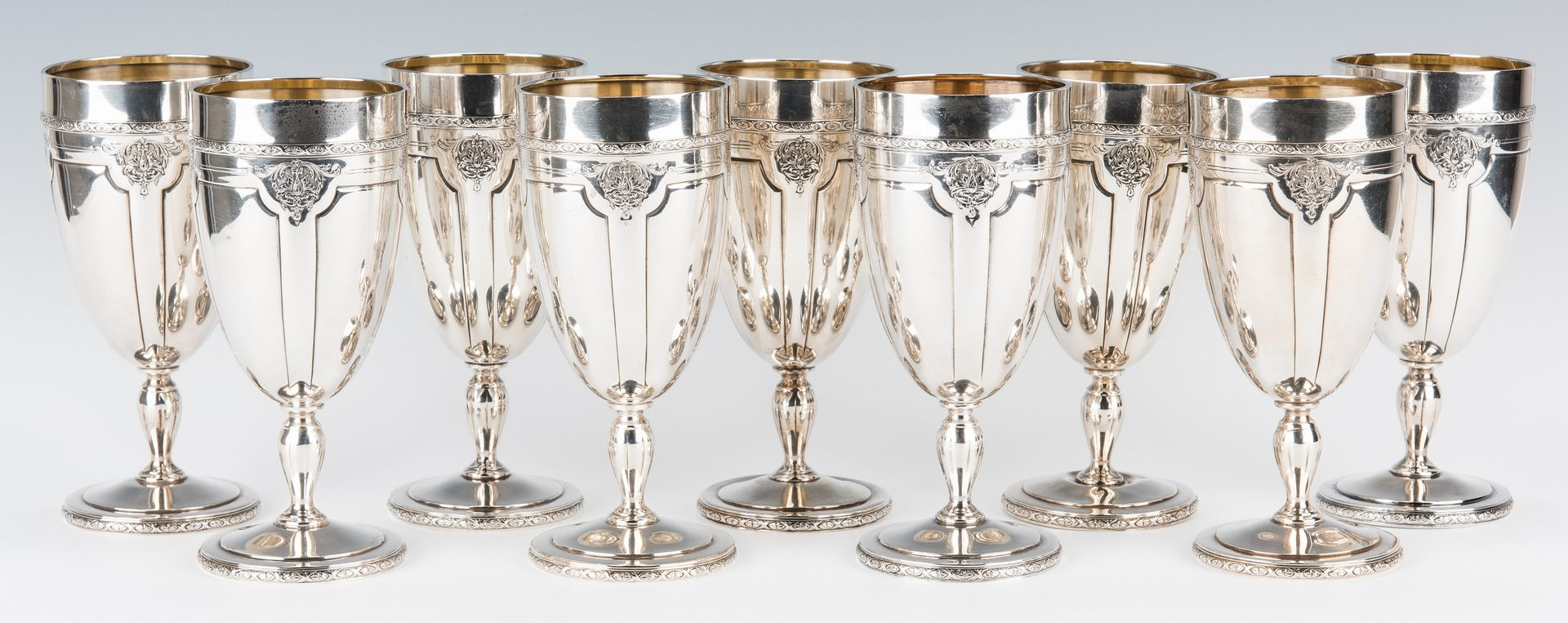 Lot 51: 12 Towle Sterling Goblets – Louis XIV
