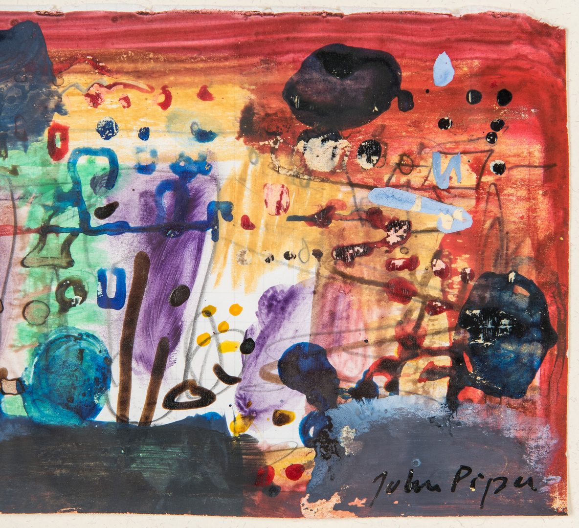 Lot 522: John Piper Mixed Media Abstract