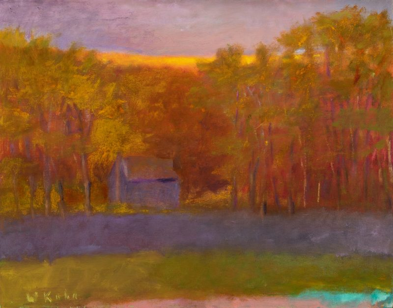 Lot 523: Wolf Kahn Oil on Canvas Landscape, Glow on the Ridge