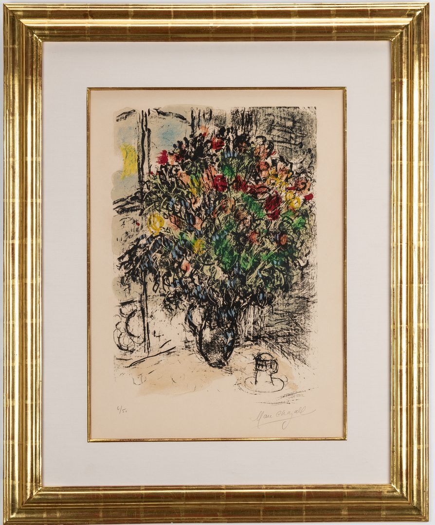 Lot 528: Marc Chagall Limited Edition Lithograph, The Red Bouquet