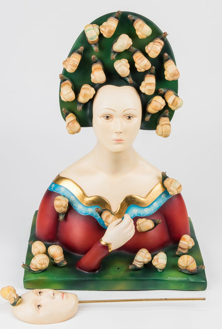 Lot 532: Sergio Bustamante Sculpture, Bust with Snails