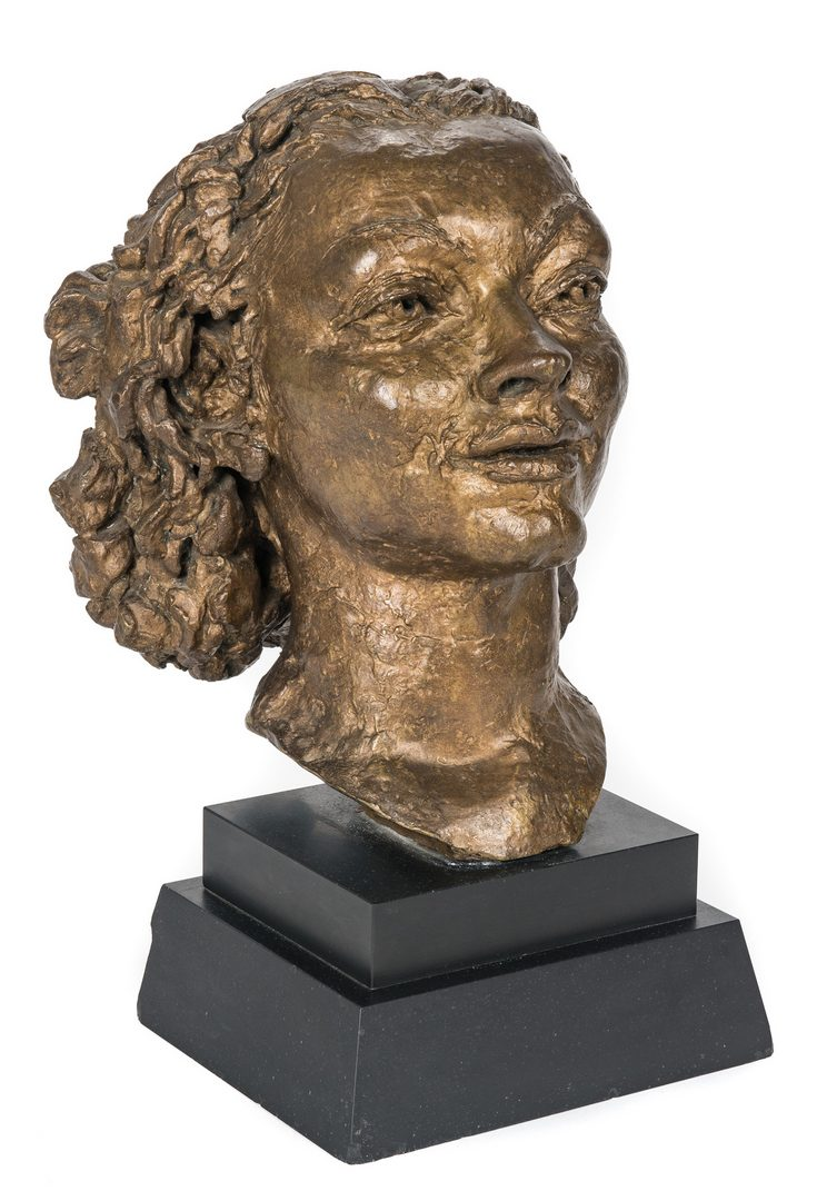 Lot 533: Jacob Epstein Bronze Head and Book