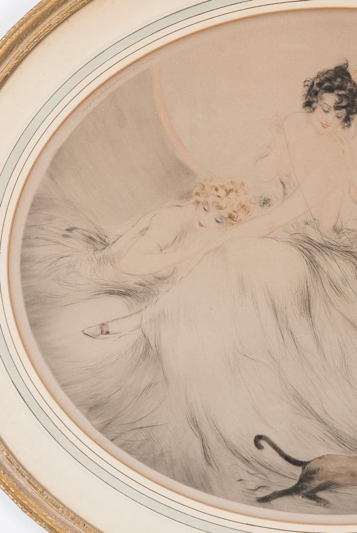 Lot 541: Louis Icart Lithograph, 3 Beauties w/ Cat