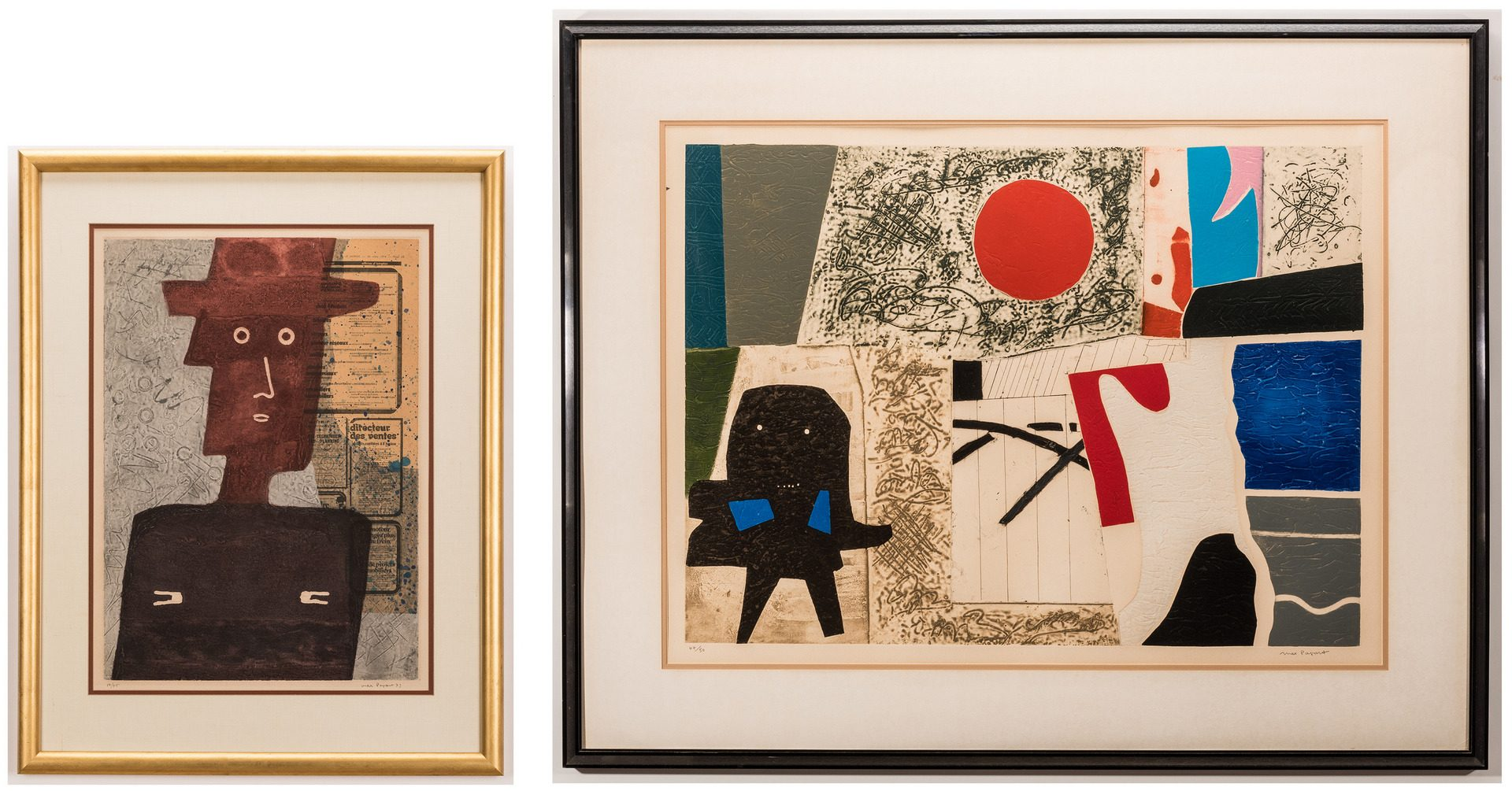 Lot 543: 2 Max Papart Etchings, Red Sun and L'Homme au Chap