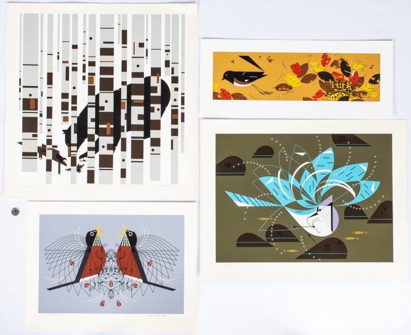 Lot 544: 4 Charley Harper Serigraphs, incl. Bear, Turtle, & Birds