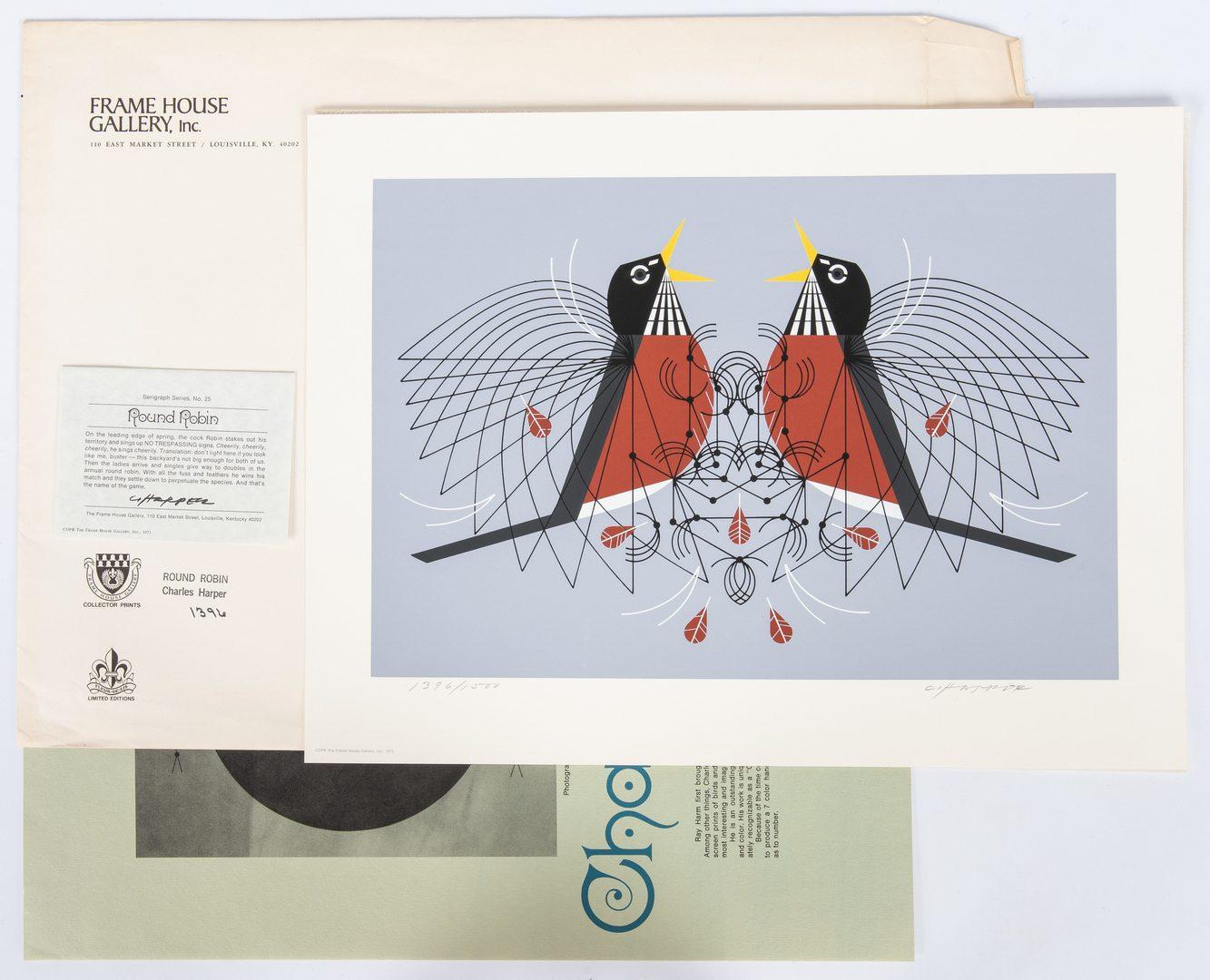 Lot 544: 4 Charley Harper Serigraphs, incl. Bear, Turtle, & Birds