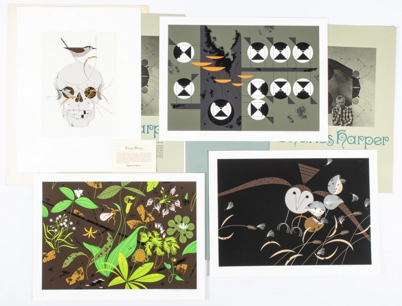 "Lot 545: 4 Charley Harper Serigraphs. incl. Partial Portfolio & ""House Wrens"""