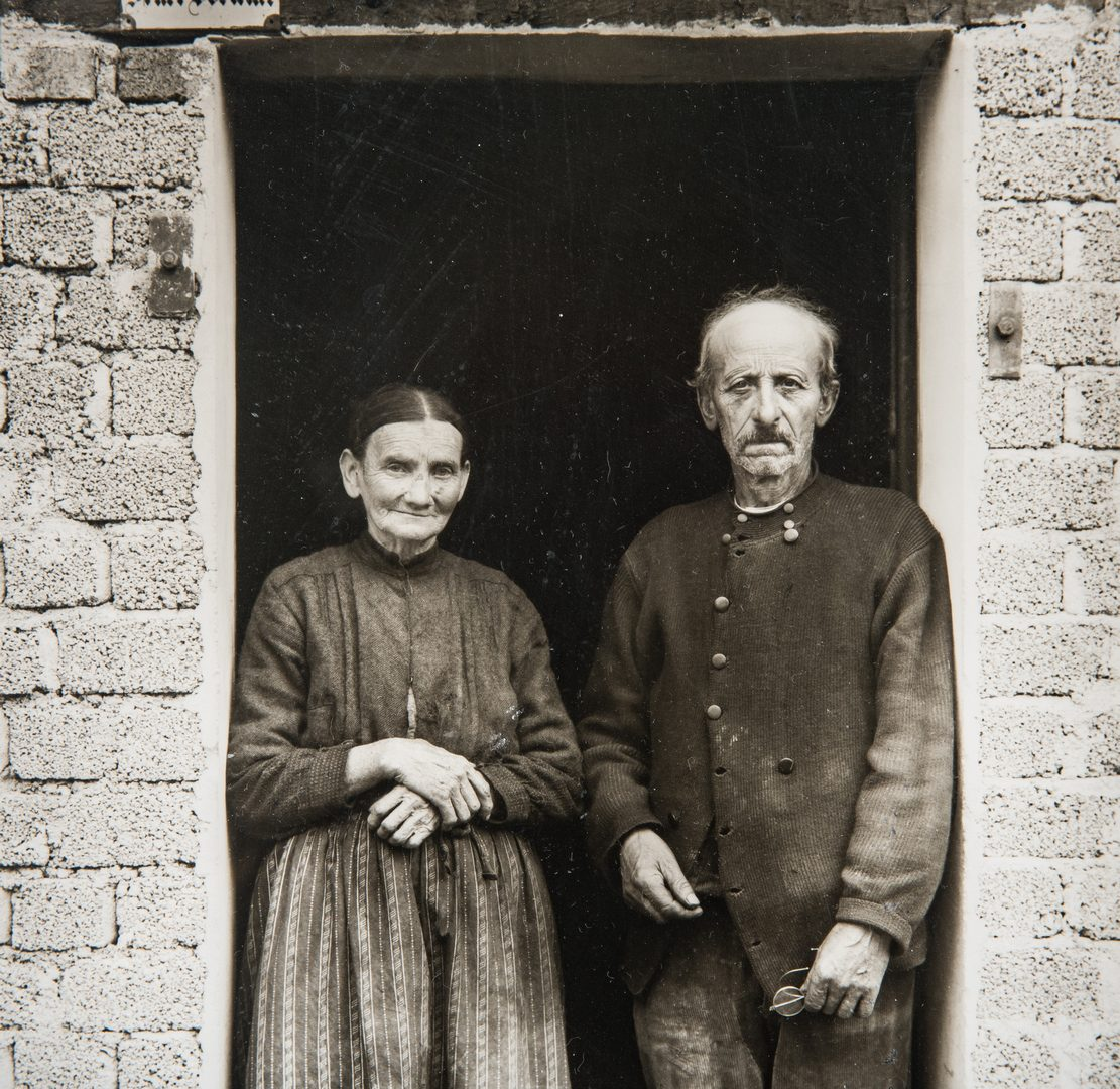 Lot 548: 2 August Sander Gelatin Silver Prints, Peasant Couple and Farmer with Shovel