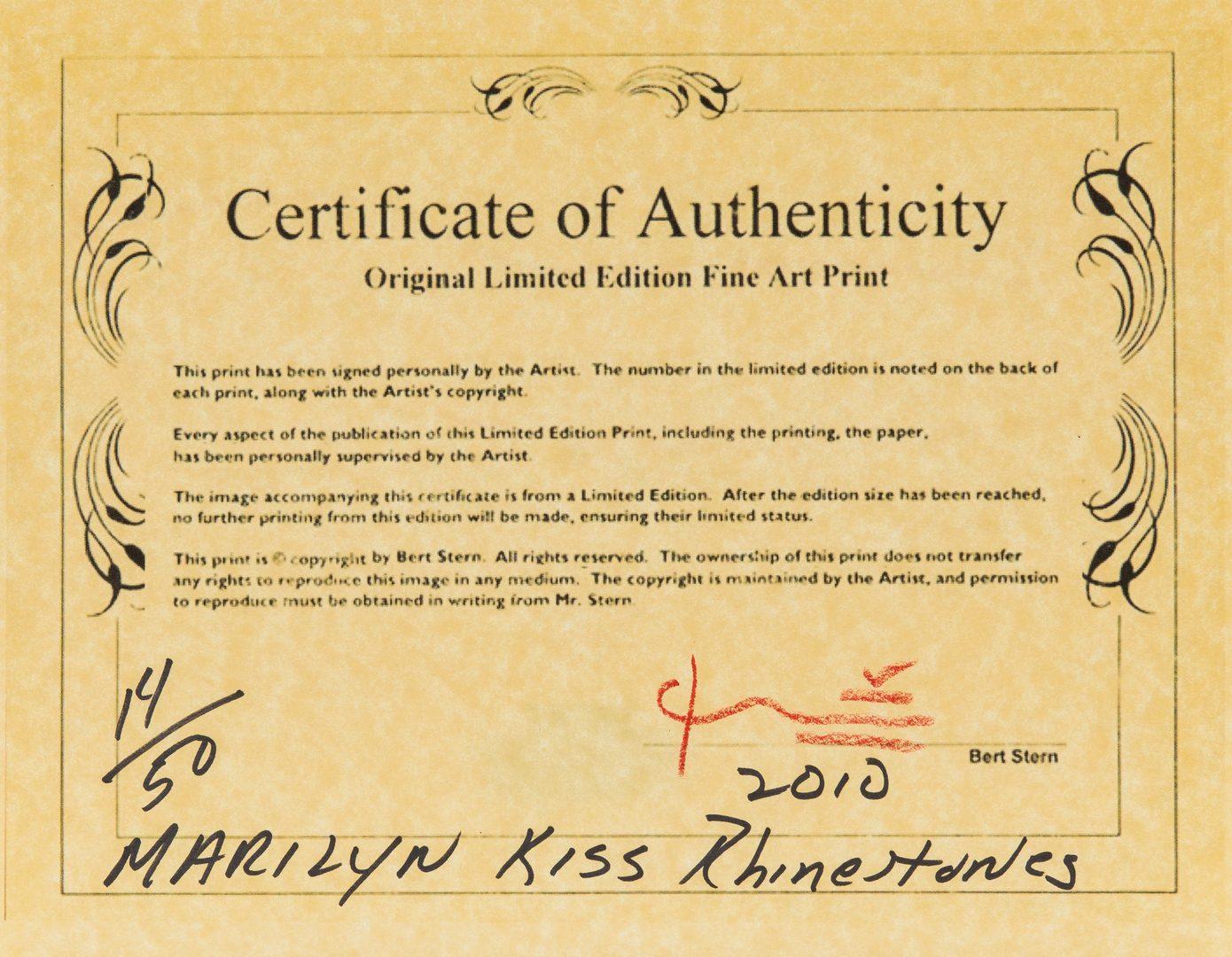 Lot 557: Bert Stern Marilyn Monroe Last Sitting Photograph, Kiss in Rhinestones