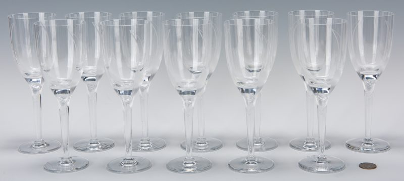 Lot 568: Set of 12 Lalique Champagne Flutes