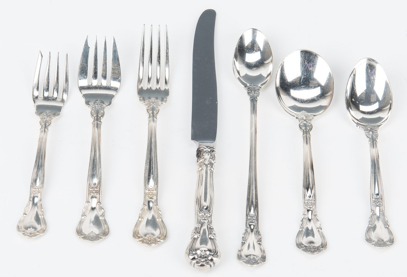 Lot 56: Gorham Chantilly Sterling Flatware & more, 74 items