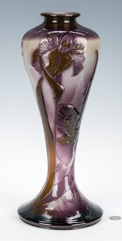 "Lot 570: Art Glass Iris Vase, 17"" H"